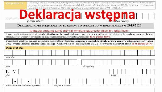 Obrazek newsa Wstępne deklaracje maturalne