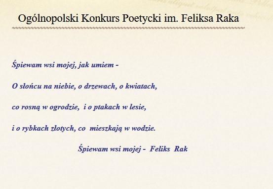 Obrazek newsa Ogólnopolski Konkurs Poetycki